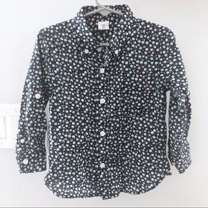 GAP Toddler Boys Navy Floral Button Down WORN ONCE